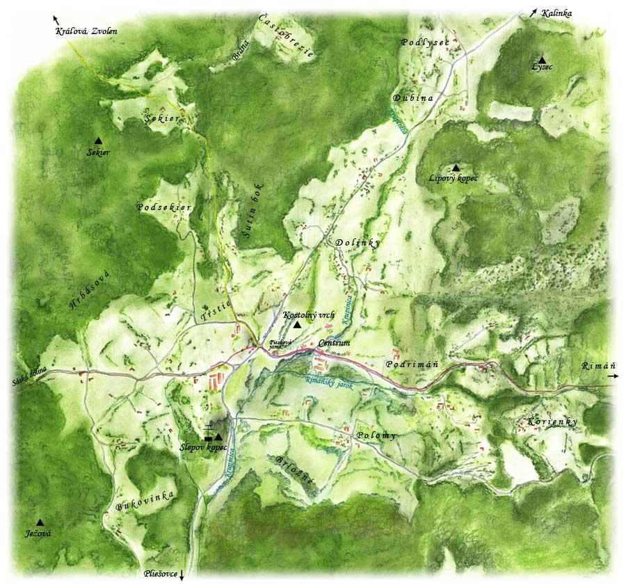 Mapa Zaježovej